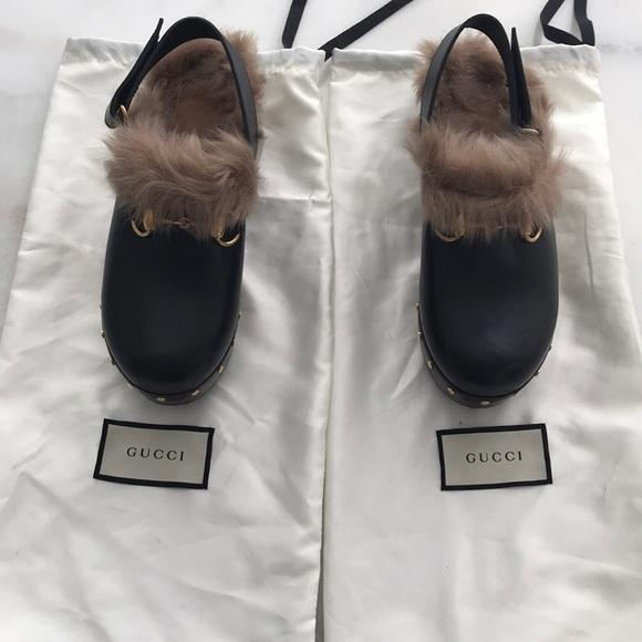 4a7e70ded Gucci Shoes | Authentic Amstel Black Leatherfur Clogs | Poshmark